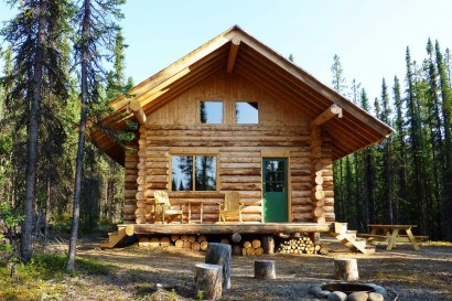 Log cabin romance in remote wilderness